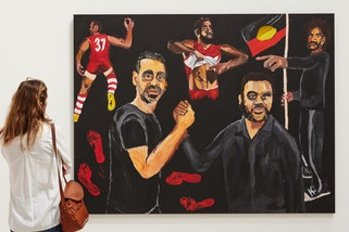 Members viewing of Archibald, Wynne and Sulman Prizes 2020. Archibald Prize 2020 winner Vincent Namatjira Stand strong for who you are © the artist