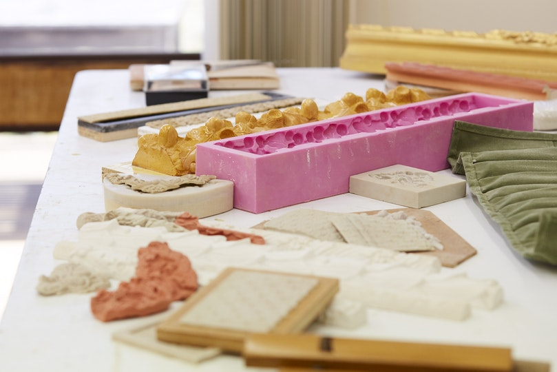 Moulds used by frames conservators to reproduce decorative ornaments.