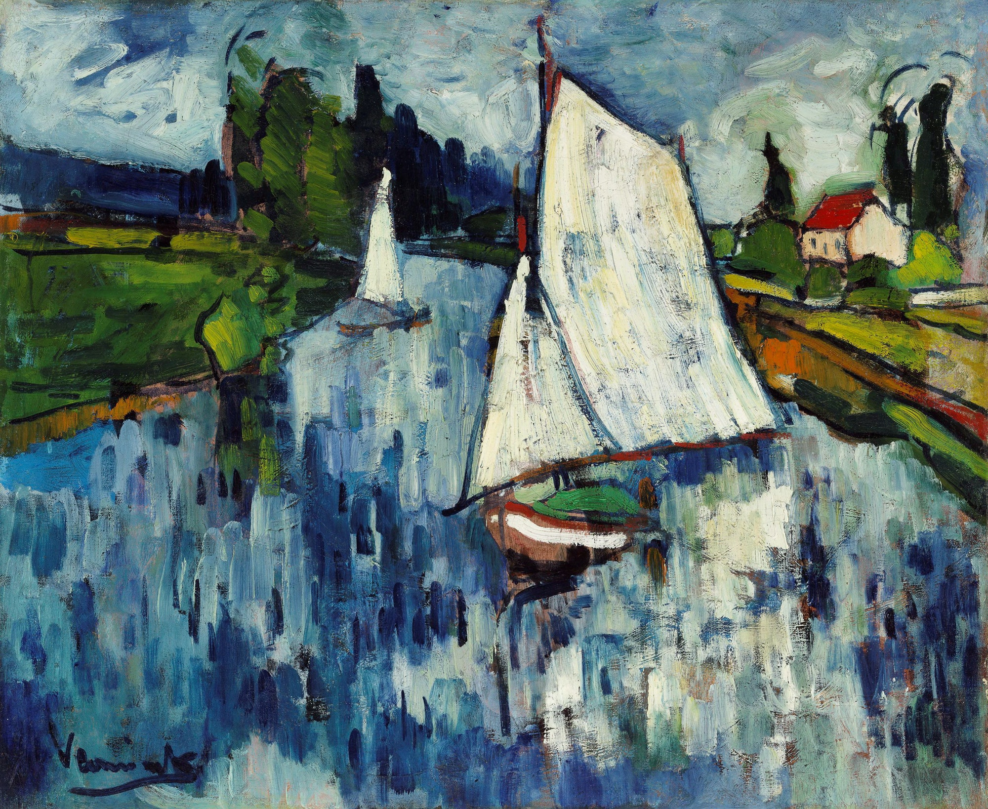 Maurice de Vlaminck Sailing boats at Chatou 1906  Art Gallery of New South Wales     Purchased with funds provided by the Art Gallery of New South Wales Foundation and the Margaret Hannah Olley Art Trust 2006  © Maurice de Vlaminck/ADAGP. Licensed by Copyright Agency
