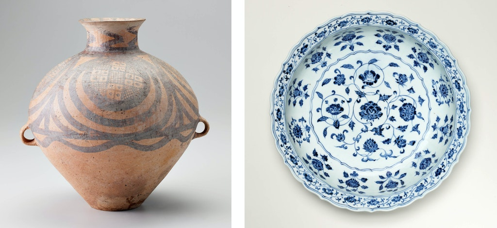 Left to right: China, Qinghai province, Neolithic period, Majiayao culture (c2350–2050 BCE) Jar with painted decoration; China, Ming dynasty, Yongle period (1403–24) Jingdezhen ware blue-and-white large dish with floral scroll design, Art Gallery of New South Wales