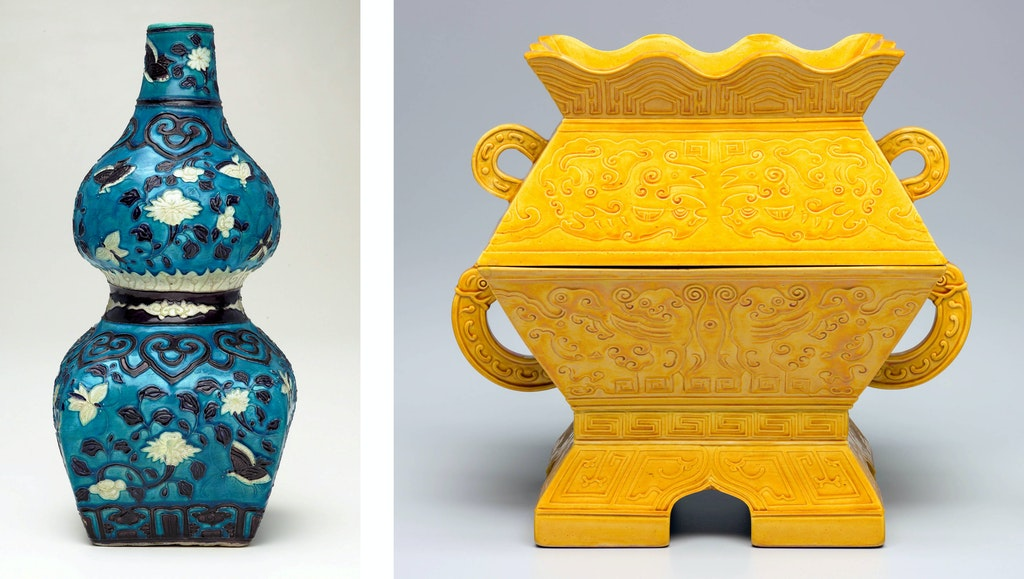 TestLeft to right: China, Ming dynasty, Jiajing period (1522–66) Gourd-shaped bottle with butterfly design; China, Qing dynasty, Tongzhi period (1862–74) Fu ritual vessel, Art Gallery of New South Wales