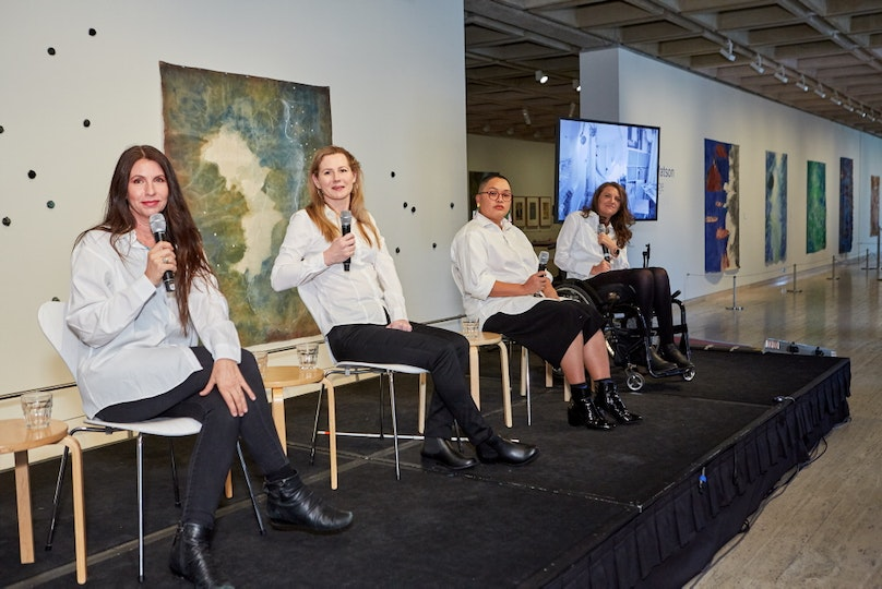 International Day of People with Disability panel discussion Rosalind Stanley, Rosell Flatley, Cobie Ann Moore and Rebecca Sciroli, artists, Front Up Emerge collaboration in conversation.