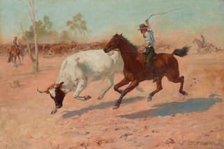 Frank Mahony Rounding up a straggler 1889. Art Gallery of New South Wales, purchased 1889.