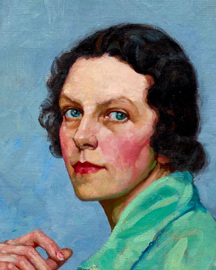 Tempe Manning Self portrait 1939 (detail). Private collection. © Estate of Tempe Manning