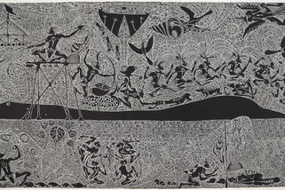 Alick Tipoti, Seseren Aadhi 2021, linoblock print on paper, 120 x 200 cm, This commission was supported by the Australian Government through the Australia Council and Atelier,  Art Gallery of New South Wales © Alick Tipoti