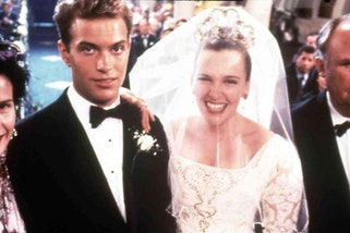 Rachel Griffiths, Daniel Lapaine, Toni Collette and Bill Hunter in the film Muriel's Wedding 1994.