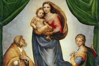 Raphael (Raffaello Sanzio of Urbino) The Sistine Madonna 1513  Gemaeldegalerie Alte Meister, Dresden © Staatliche Kunstsammlungen Dresden / Bridgeman Images
