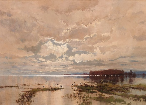 AGNSW Collection, WC Piguenit, The flood in the Darling 1890, 1895