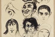 Brett Whiteley 'Head studies' circa 1971.