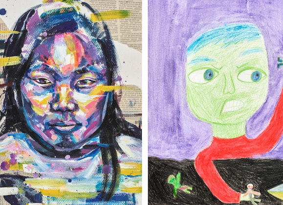 Images L–R: 2021 Young Archie winner (13–15 years), Jacqueline Qin, My sister; 2021 Young Archie winner (9–12 years), Luanda Lucia Perlstone Monroy, My Hulk brother.