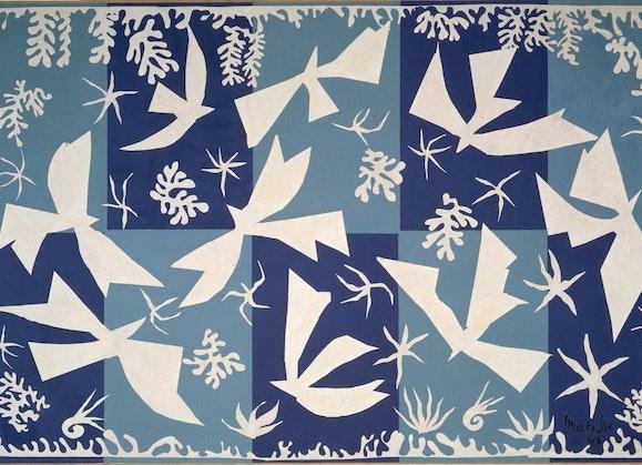 Henri Matisse, Polynesia, the sky (Polynésie, le ciel) (detail), 1946, gouache on paper, cut and pasted, mounted on canvas, Centre Pompidou, Paris, Musée national d'art moderne, from Mobilier national et Manufactures des Gobelins, de Beauvais et de la Savonnerie since 1975 AM 1975-DEP 13. © Succession H Matisse/Copyright Agency 2021. Photo: © Centre Pompidou, MNAM-CCI / Bertrand Prévost / Dist RMN-GP