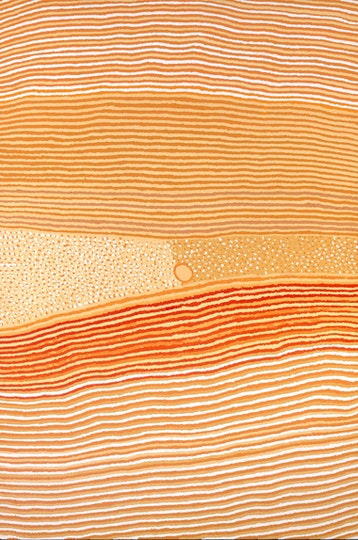 A multitude of horizontal lines in varying patterns of orange, yellow and white with a bisected section in the centre of dots.