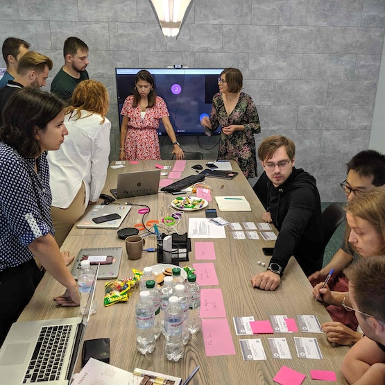 Workshop with sticky notes