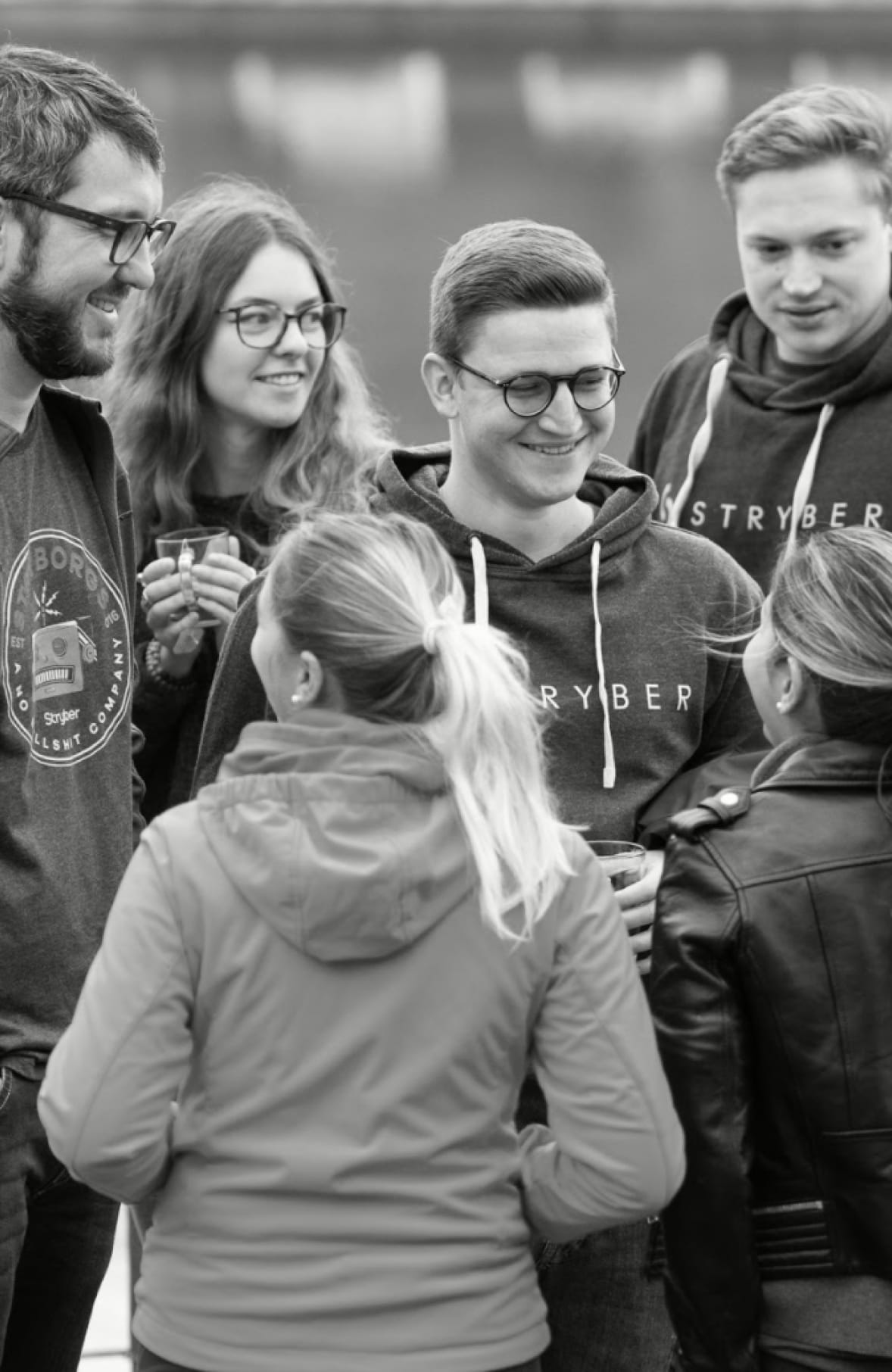 Black & white photo of the Stryber Team on an event