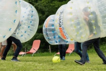 Stryborgs playing bubble soccer at a recent team event
