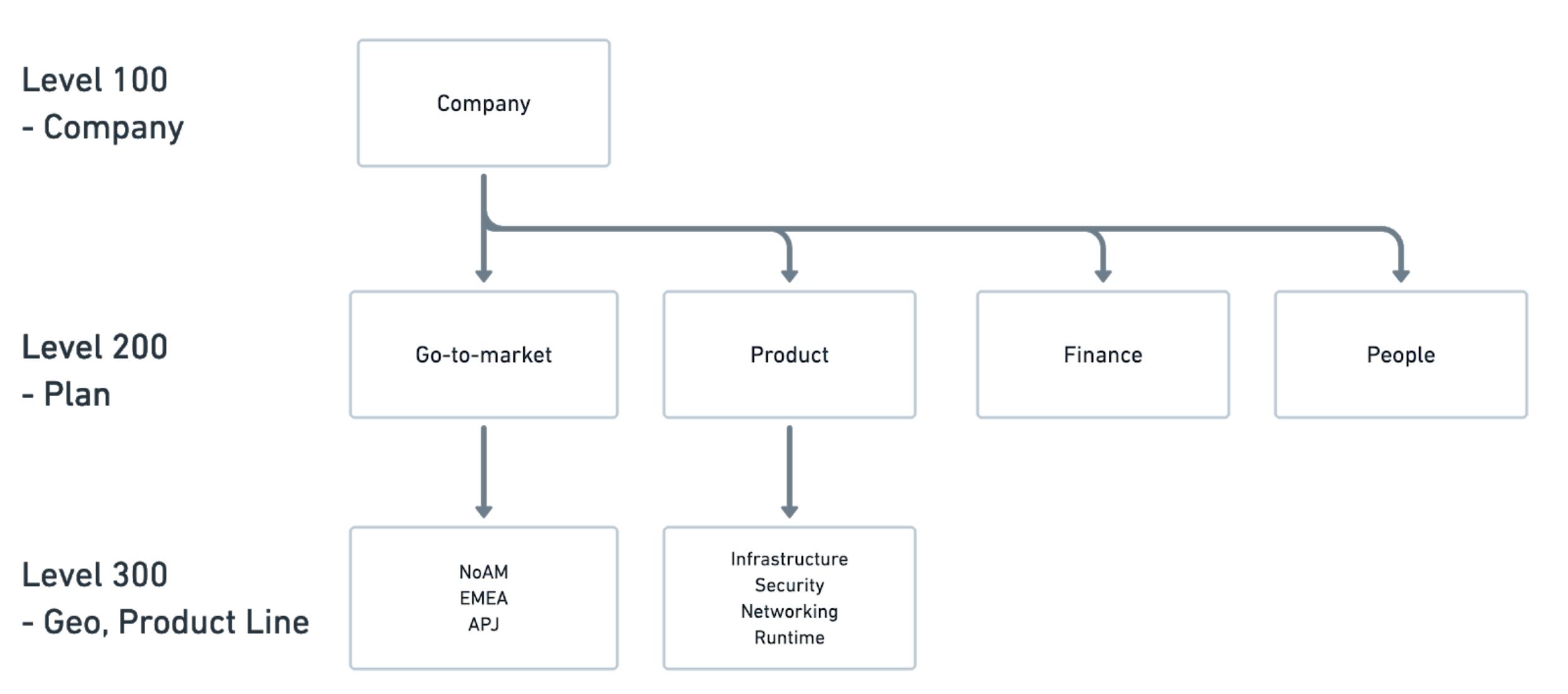 Company score card chart breakdown.  Level 100 (Company), Level 200 (Plan), Level 300 (Geo, Product Line)