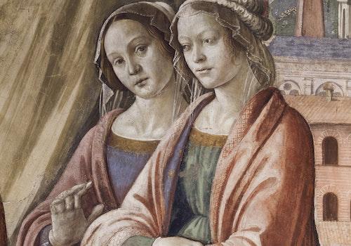 1488217558 domenico del ghirlandaio parete destra 2 visita di maria a s elisabetta part 5 cappella maggiore tornabuoni santa maria novella copia 3 jpg