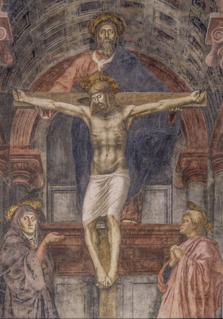 an analysis of the holy trinity by masaccio in 1428 The holy trinity, by masaccio done in approximately 1428 it is a superb example of masaccio's use analysis - i chose.