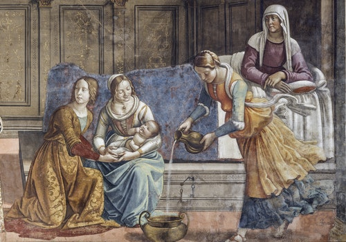 1525352538 domenico del ghirlandaio parete sinistra 2 nascita di maria part 1 cappella maggiore tornabuoni santa maria novella 1