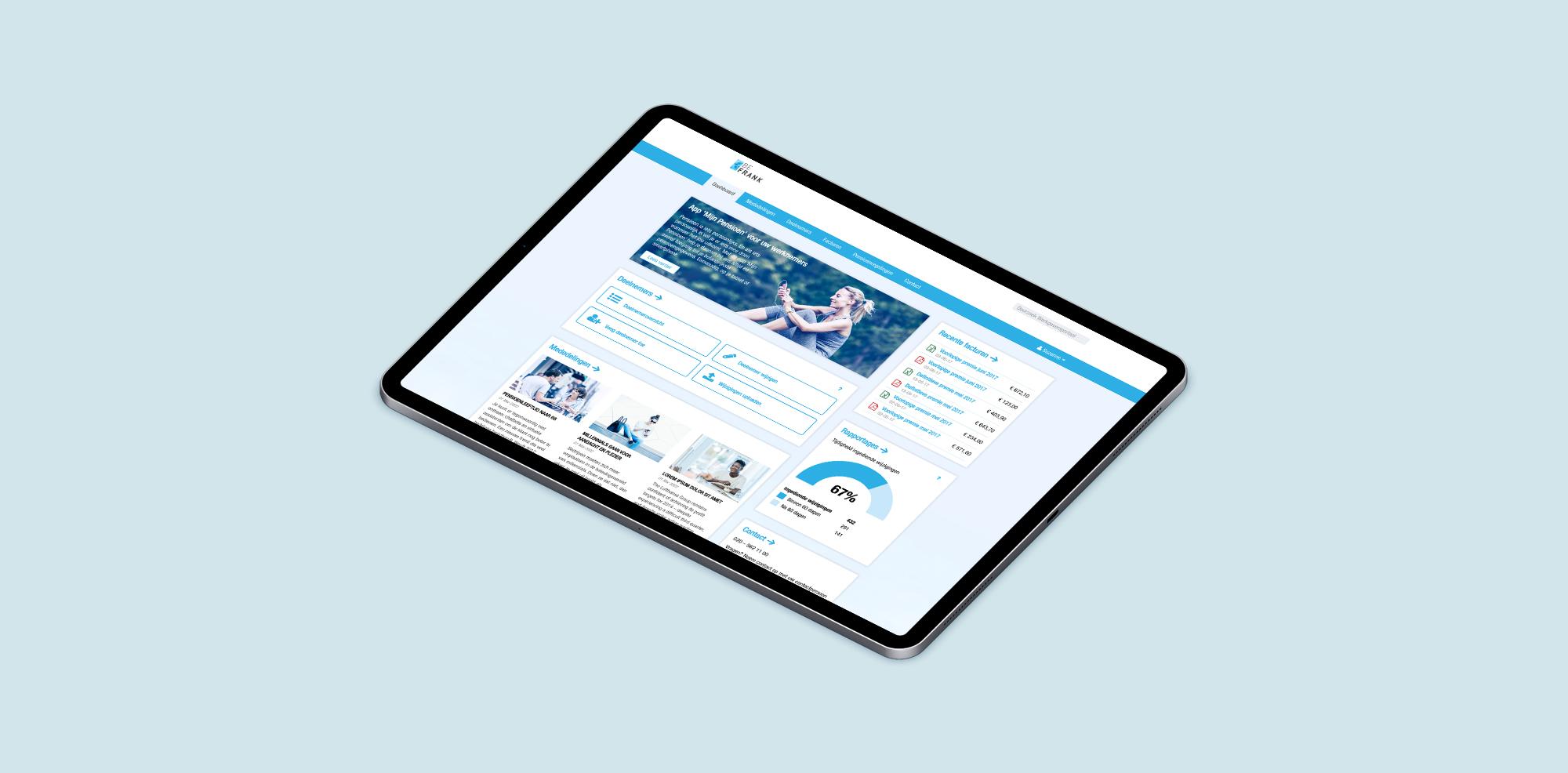 Een tablet met ons ontwerp van het nieuwe pensioenportaal