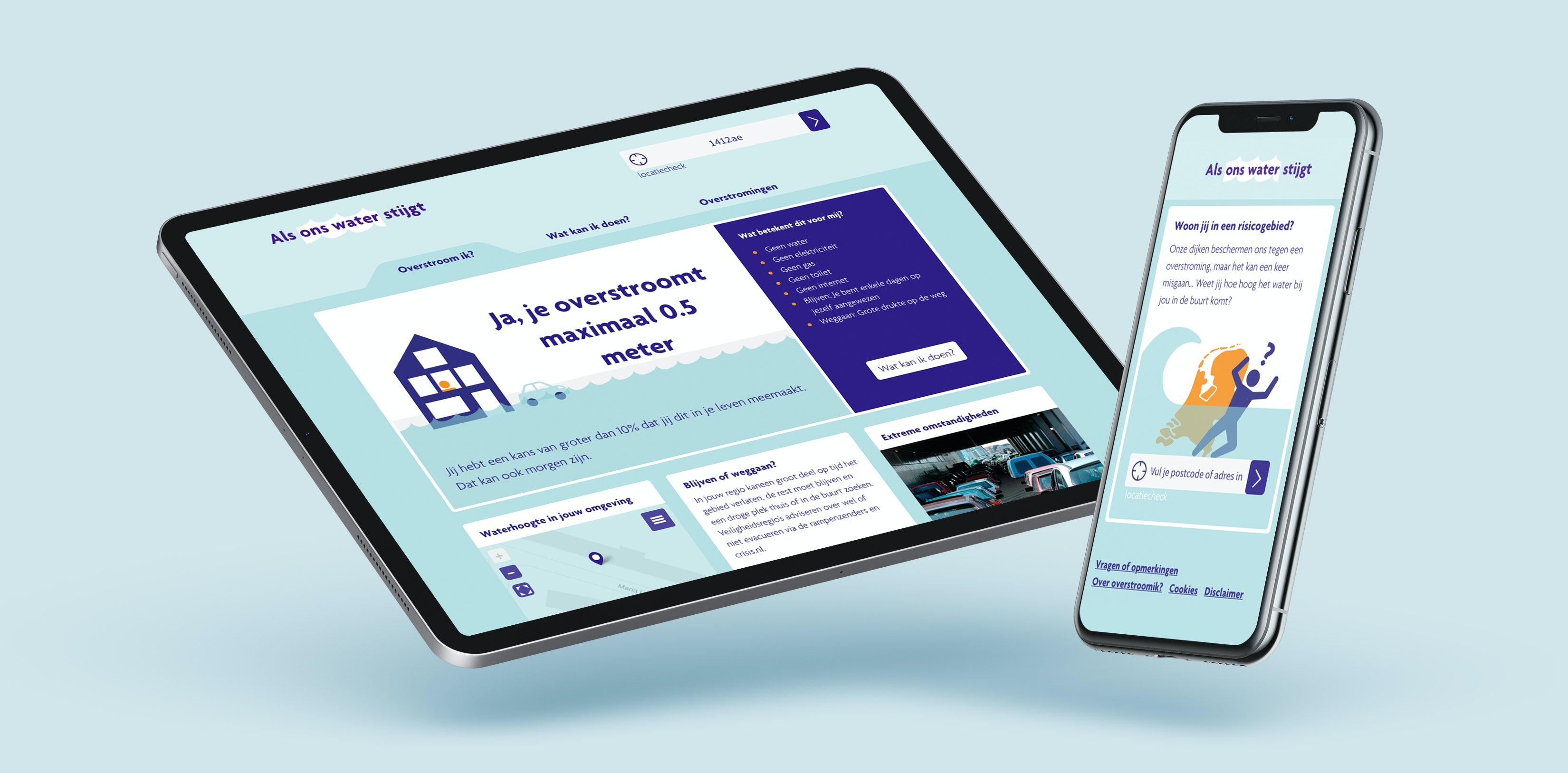 Een tablet en een smartphone met de website Overstroom Ik?