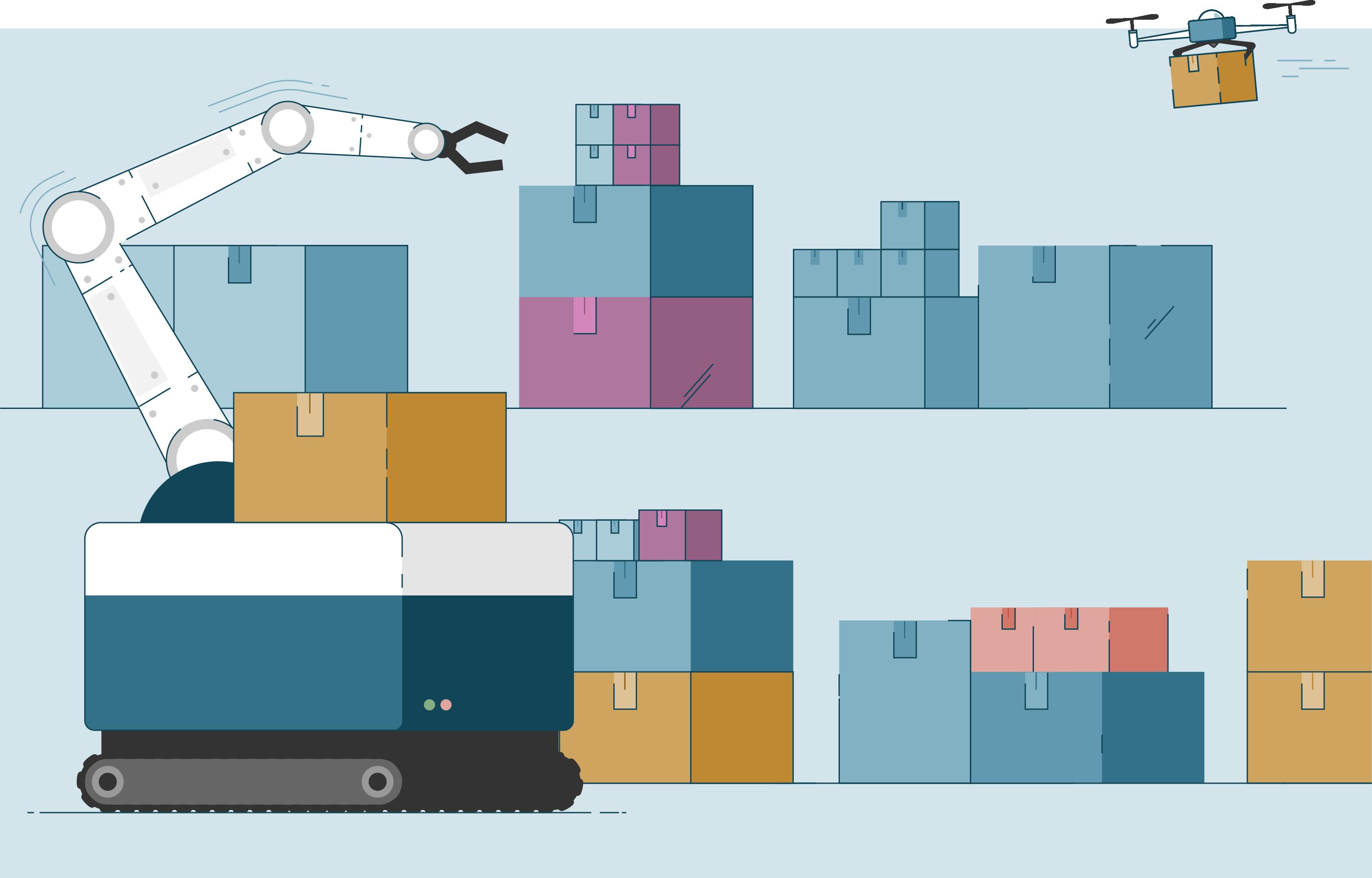 Een illustratie van robots die voorraad beheren