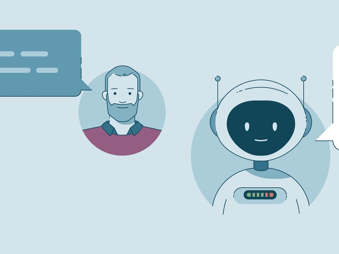 Een illustratie van een man die met een robot praat