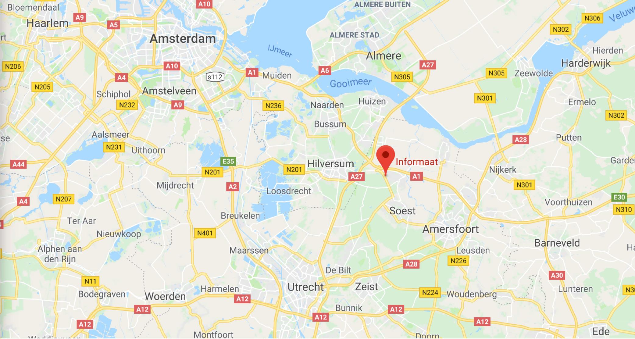 Een kaart van de wegen naar Baarn