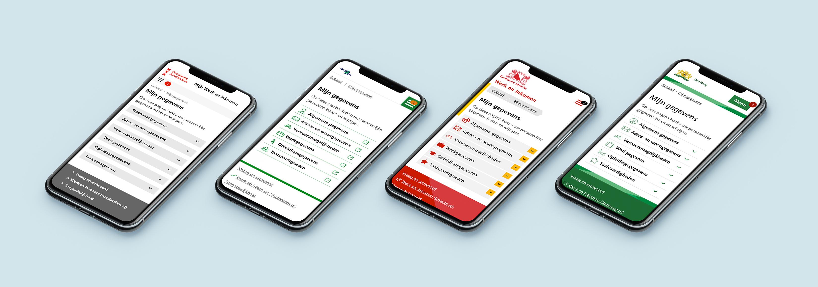Smartphones met een website in de look & feel van de 4 grote gemeenten