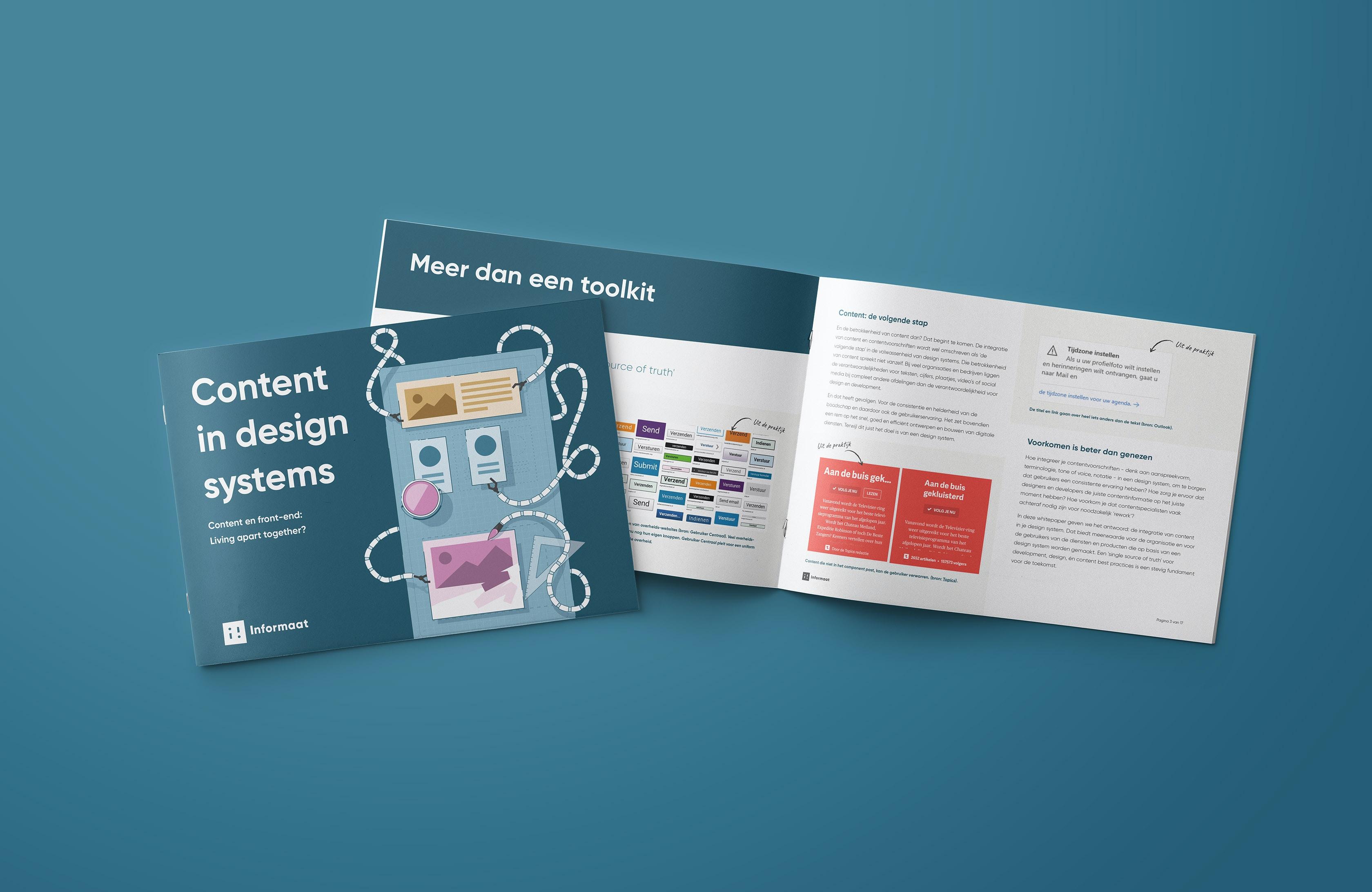 Een afbeelding van het boekje met de whitepaper 'Content in design systems' opengeslagen