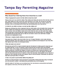 Dr. Halaas was featured in Tampa Bay Parenting Magazine