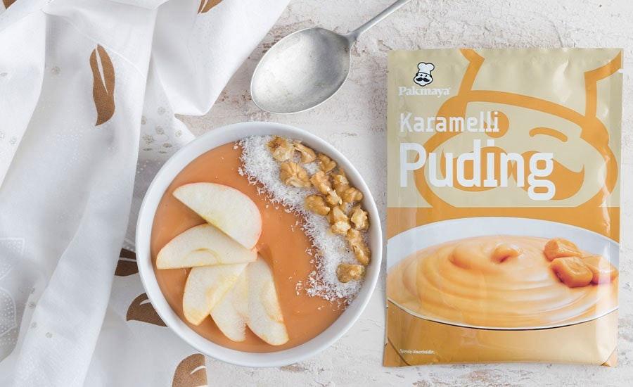 elmalı ve cevizli karamelli puding