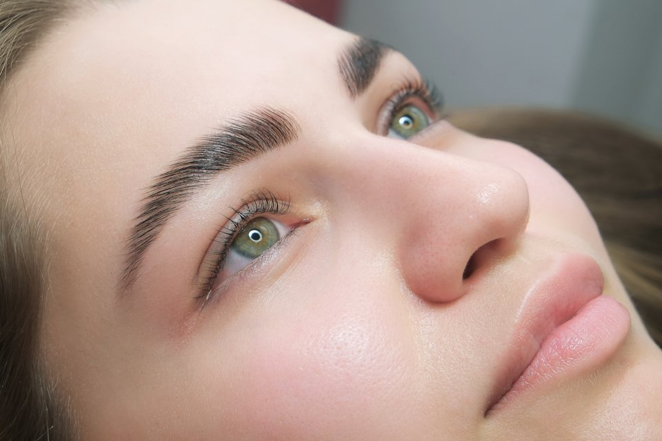 Woman with laminated eyebrows
