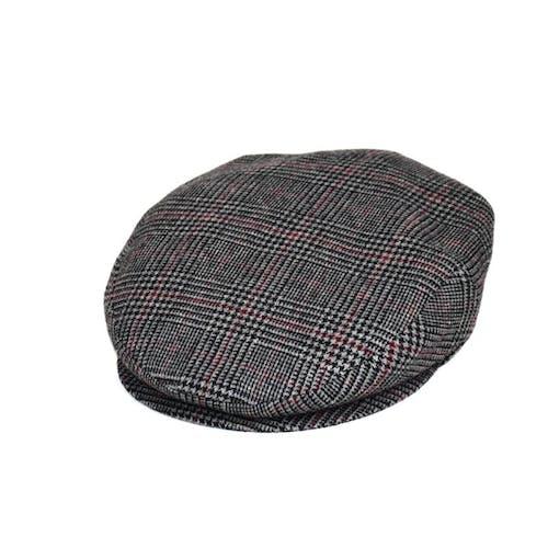 Coppola in lana grigia principe di galles con riga bordeaux d7685c2e713f