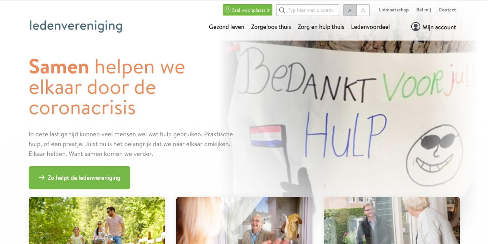 Ledenvereniging homepage screenshot