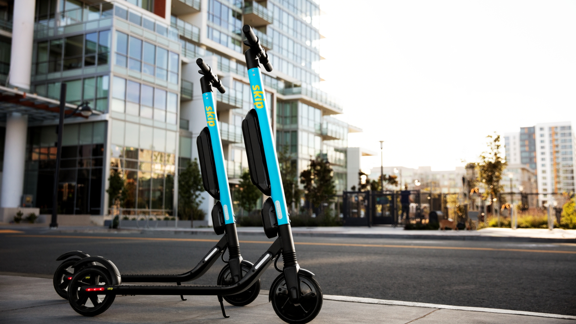 Skip Scooters Parked in the street