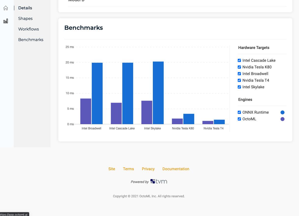 OctoML Benchmarks UI
