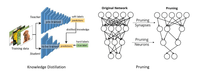 Visualization of two popular approximating optimization. Hinton et al. 2015 (left), Han et al. 2016 (right)