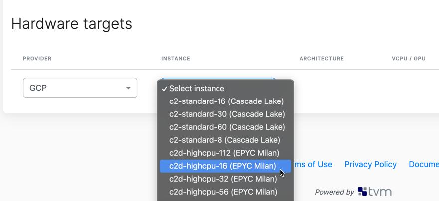OctoML UI showing EPYC Milan CPUs as hardware target options
