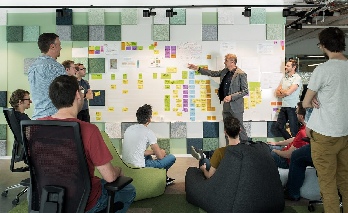 CEO Ronny Ruyters and team at the white board