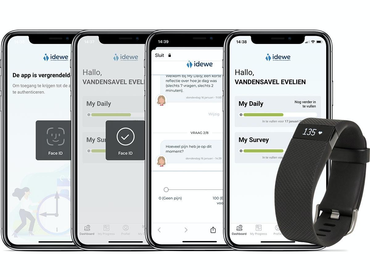 Mobile Screens: Health Empower app Groep IDEWE