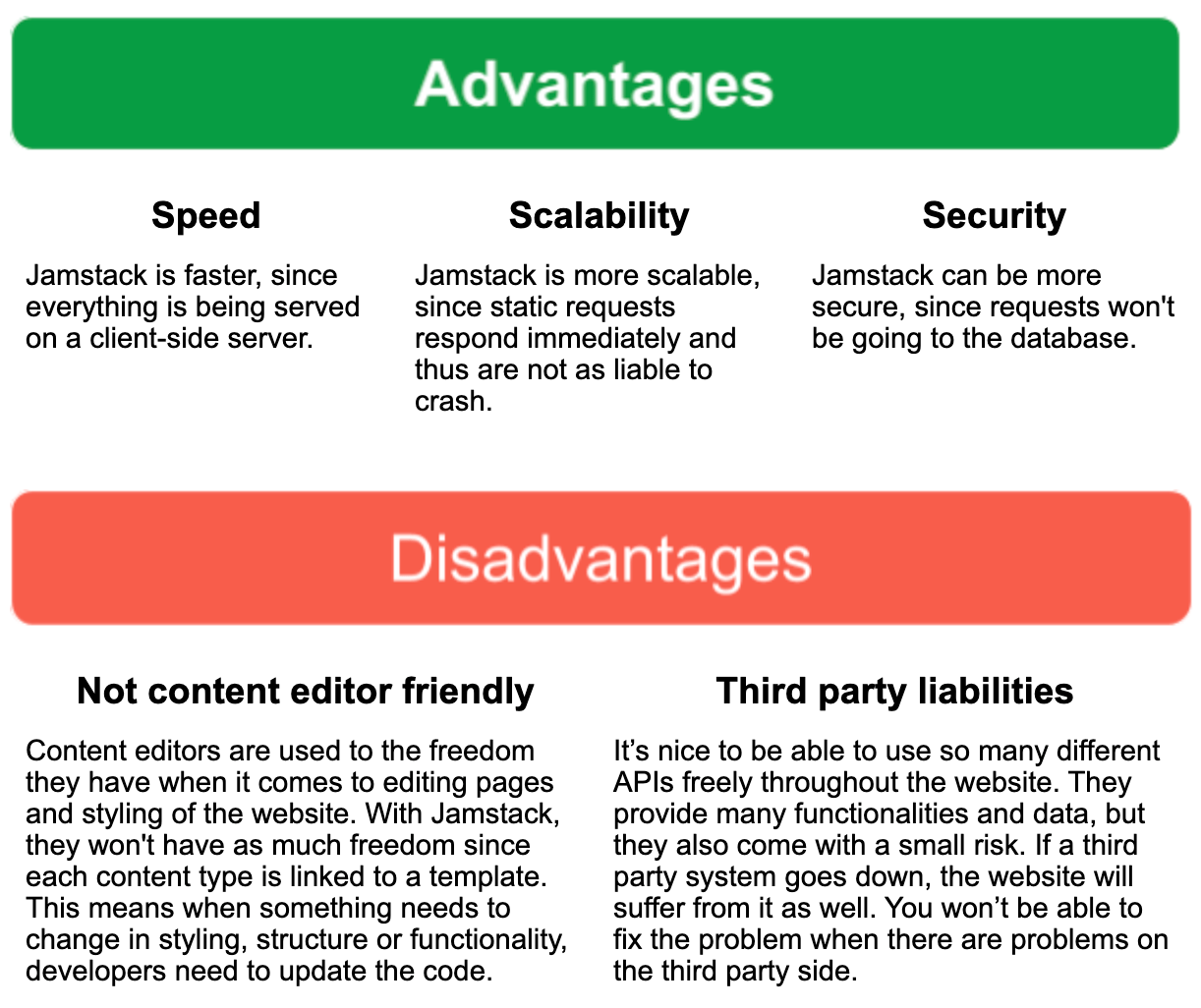 advantages and disadvantages of a JAMstack