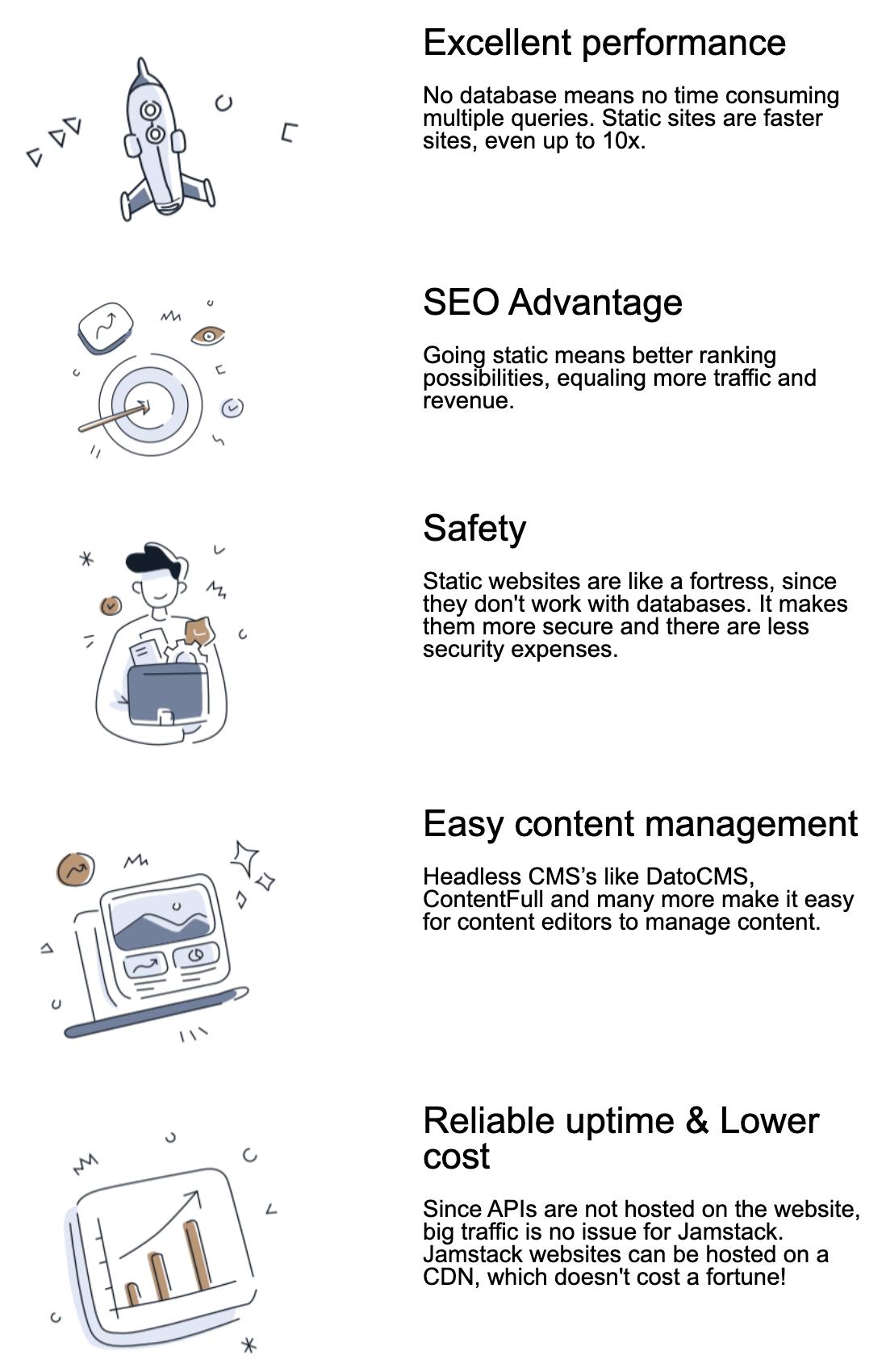 Major advantages JAMstack