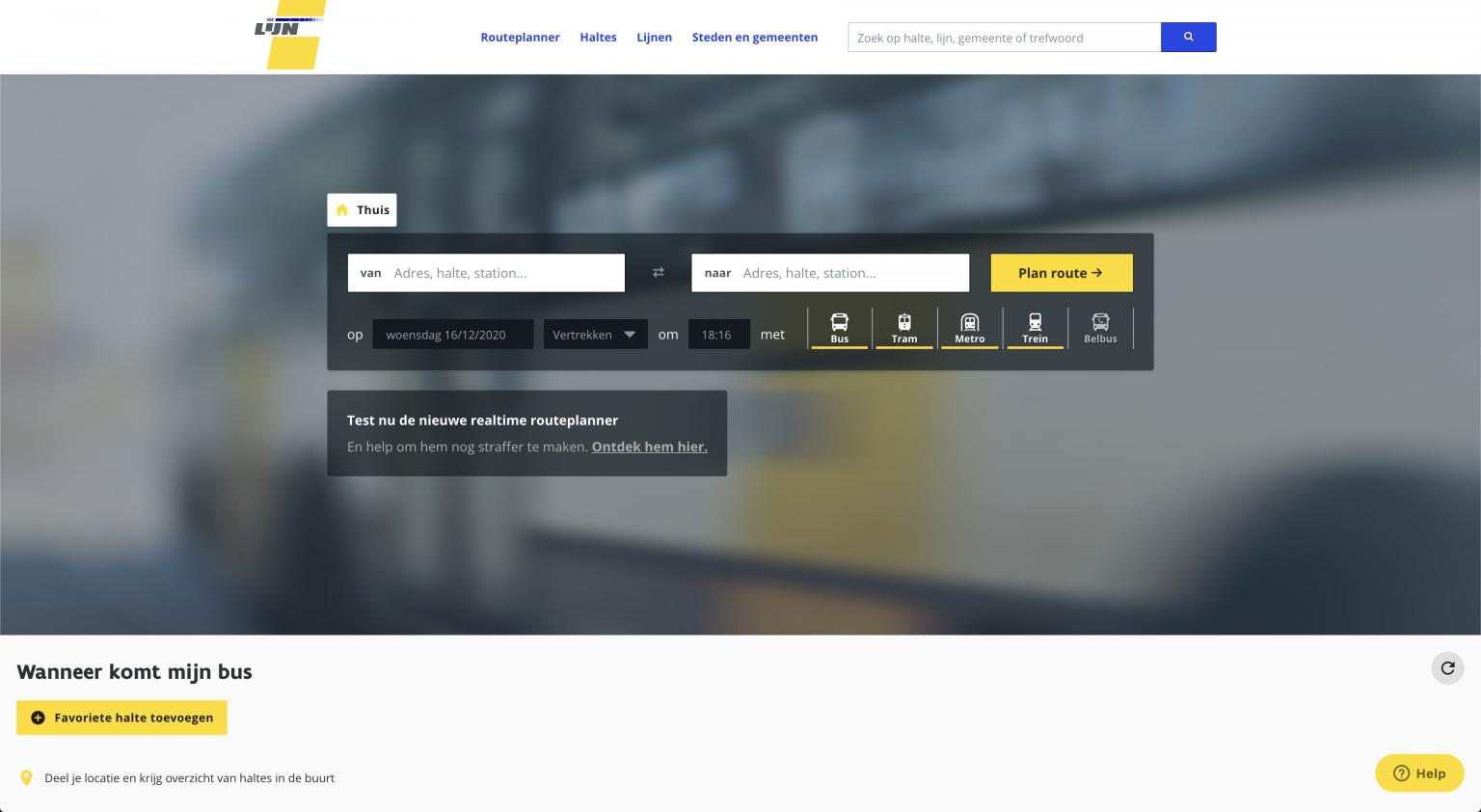 a new website and API for De Lijn