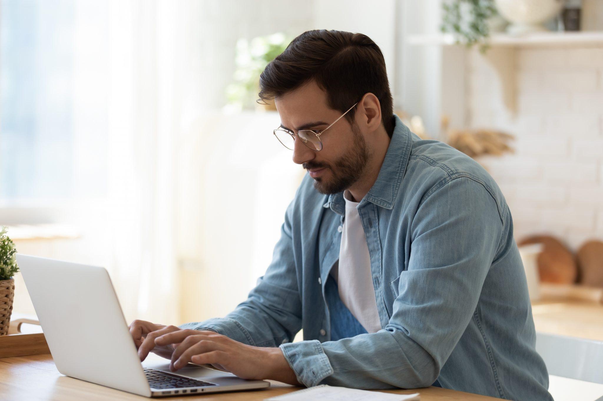 employee working at laptop