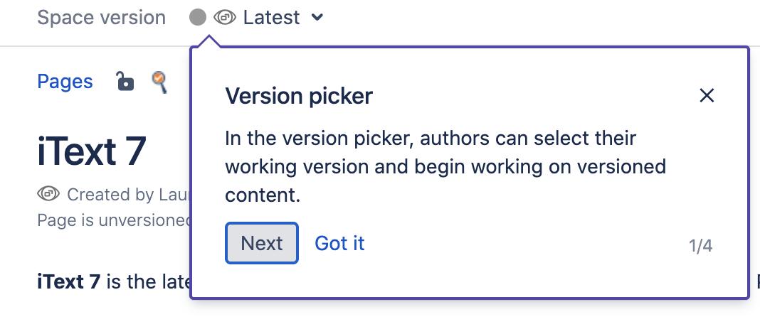 iText Version Picker