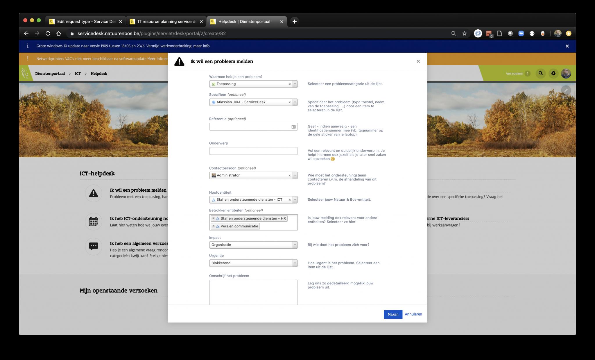 Screen ANB: Report a problem