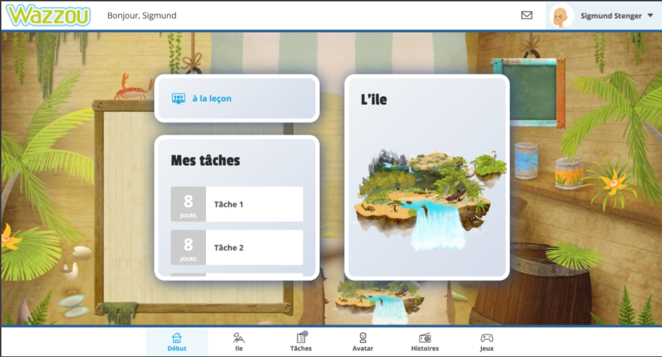 Wazzou screen with tasks