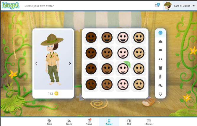 Screen Bingel: Create your avatar