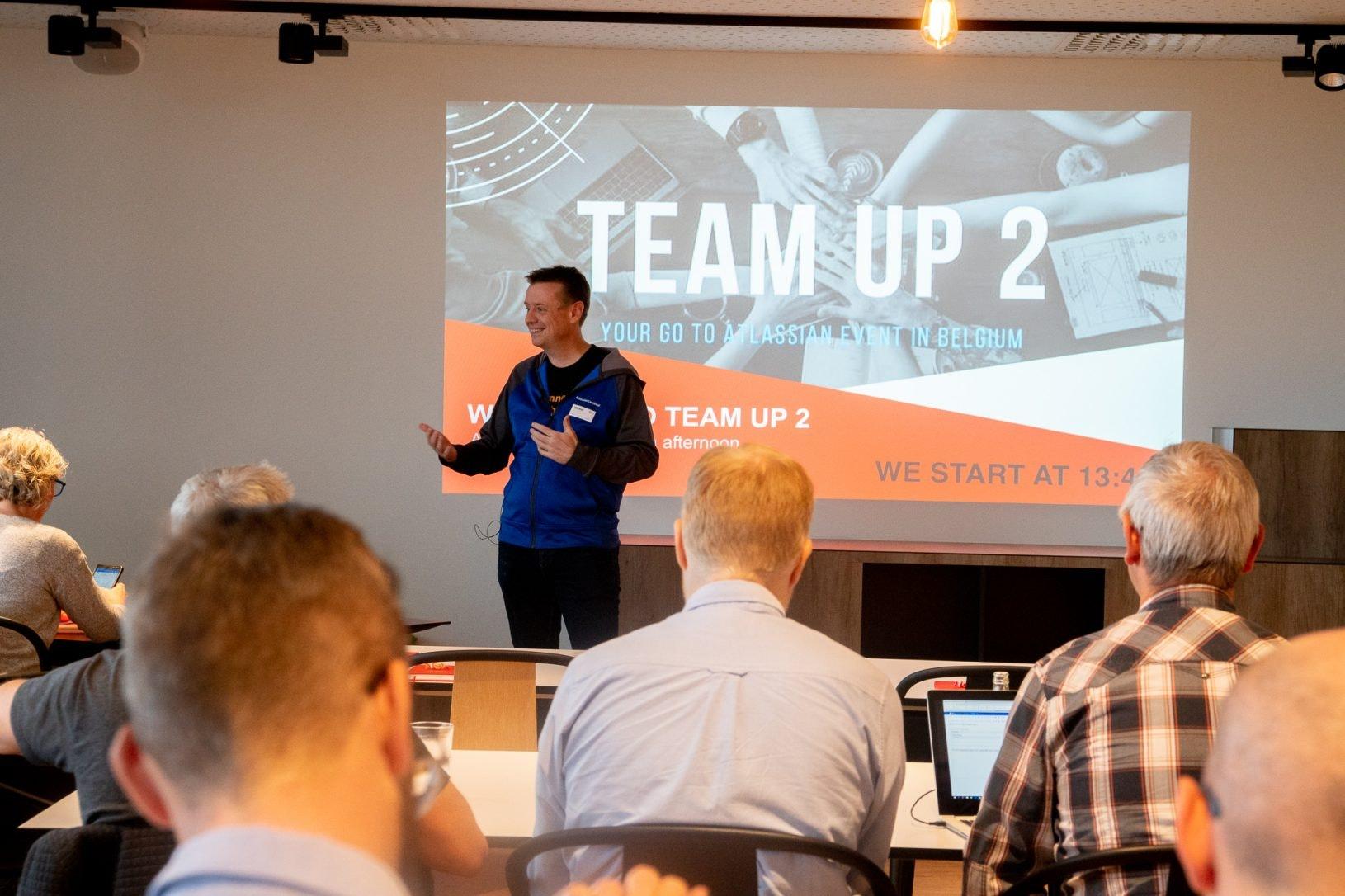 Team member talk about Atlassian team up event